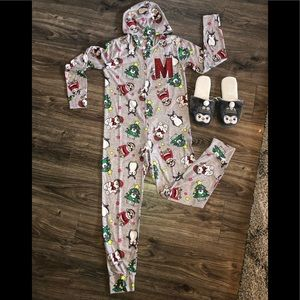Justice onesie pajama with matching slippers